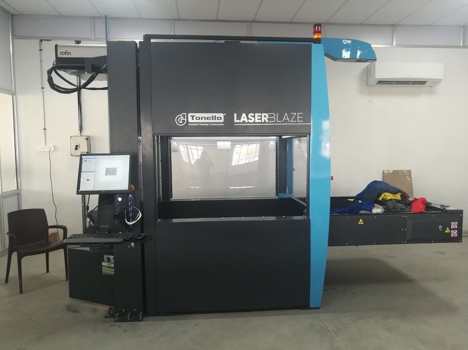 "Installation of the first ""New generation Tonello Laser Machine in India"", Tirupur"
